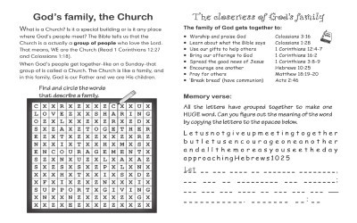 God's family - the church puzzle page